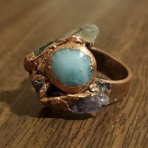 Artisan Made Stone Crystal Ring Size Medium